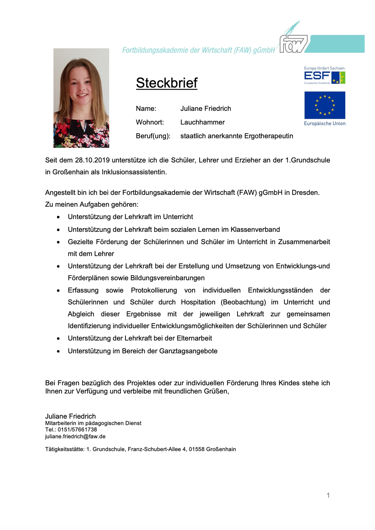 Steckbrief Juliane Friedrich